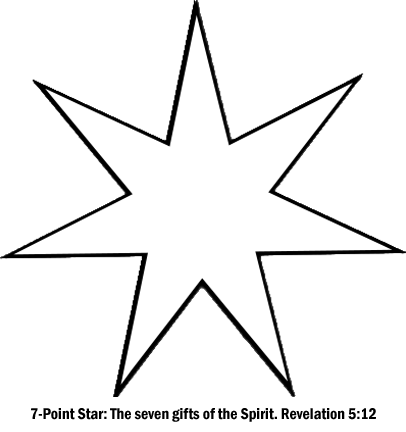 Chrismon 7-point Star - The seven gifts of the Holy Spirit