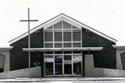 View of the church before the completion of the front exterior.